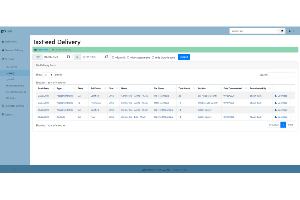 TaxFeed Delivery Screenshot